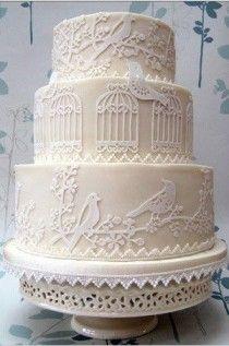 Lovely birdcage & birds wedding cake.