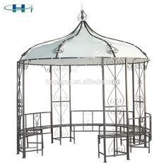 Dia3x2.9 ronda marco de acero jardín decorativo hierro forjado gazebo