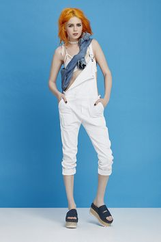 Citizens of Humanity Audrey Slim Overalls & SKIVVIES Forget Me Not Knit Bralette & Jeffrey Campbell Ezra Denim Flatform