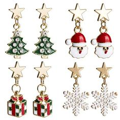 4ebc22a58a6422 The perfect Christmas Earrings for Girls Colorful Dangle Earrings Set for  Women Santa Christmas Tree Snowflake