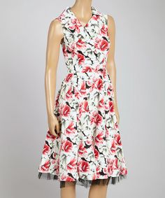 Another great find on #zulily! White & Red Floral Sleeveless Dress by HEARTS & ROSES LONDON #zulilyfinds
