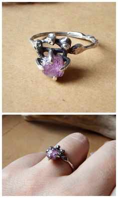 Raw Pink Tourmaline and sterling silver organical ring handmade by Alice Savage. Dainty, skinny ring, bohemian, boho chic, style. Shop at www.alicesavage.eu