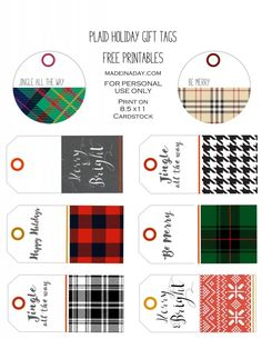 Plaid Holiday Gift Tags Free Printables madeinaday.com