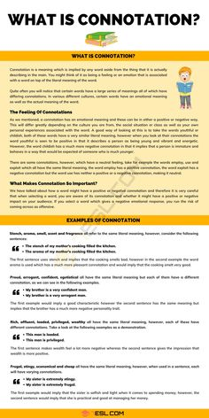 Connotation English Grammar Rules, Teaching English Grammar, English Writing Skills, English Vocabulary Words, Writing Advice, Writing Resources, Essay Writing, English Language, Grammar Posters