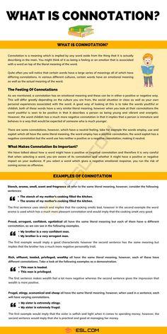 Connotation Essay Writing Skills, English Writing Skills, Writing Words, Writing Resources, Writing A Book, Writing Tips, Teaching English Grammar, English Grammar Worksheets, English Vocabulary Words