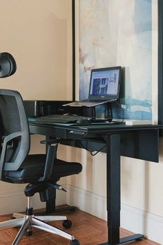 looking to create a small office space that you can work from home in and be productive? try an adjustable electric stand desk where you can sit stand and incorporate movement into a long work day. best standing desk, sit stand desk, bdi office furniture, work from home office essentials, standing desk for small space, best standing desk for apartment Desks For Small Spaces, Small Space Office, Small Apartments, Home Desk, Home Office, Best Standing Desk, Amazon Home Decor, Sit Stand Desk, Shopping Places