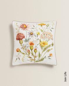 FUNDA DE COJÍN LINO FLORES Zara Home Canada, Zara Home España, Printed Linen, Spring, Floral Prints, Cushions, Throw Pillows, Cover, Honda