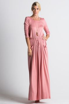 Soft And Beautiful Round Neck, sleeve maxi dress with drawstring, stretchy waistband and side pockets. Fit: S = M = L = Rayon Spandex Made In The USA Modest Maxi Dress, Apostolic Clothing, Clothes For Women, Pattern, Color, Dresses, Fashion, Outerwear Women, Vestidos
