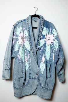 Awesome Vintage 80s/90s Oversized Denim Puffy Paint Pastel Floral and Stud Funky Fresh Long Sleeve Jacket Unisex by LipstickDinosaur on Etsy