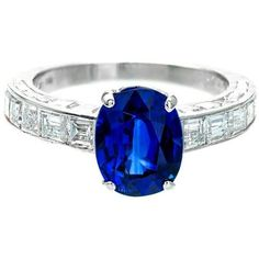 Preowned Cartier Natural Sapphire Diamond Platinum Ring (1,039,395 MXN) ❤ liked on Polyvore featuring jewelry, rings, blue, cartier ring, blue sapphire ring, square sapphire ring, pre owned diamond rings and square ring