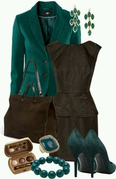 Teal - loving the dress and the blazer!