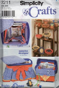 Simplicity 7211 Sewig Accessories pattern and pieces to make - storage container (A and B), Wrist Pin Cushion (C), Flower Pot Pin Cushion (D,E,F,G).