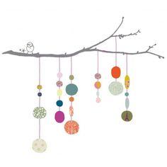 Un oiseau s'est posé sur une branche, une bien jolie branche ! Sur cette branche, on a accroché plusieurs fils rose fluo avec des perles de toutes les couleurs.