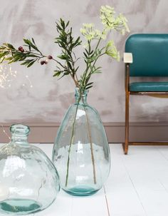 Are you interested in our large hand blown bottle vase? Large Glass Bottle, Large Glass Vase, Green Glass Bottles, Glass Jug, Vase Crafts, Pots, Turquoise Glass, Tall Vases, Bottle Vase