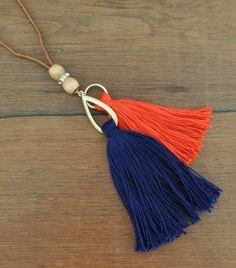Navy Orange Tassel Necklace madeinaday.com