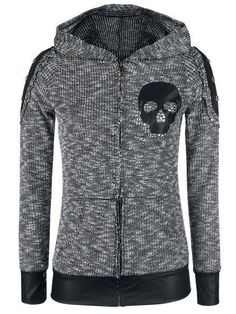 Stylish Hooded Skull Print Faux Leather Spliced Zip Up Hoodie For Women