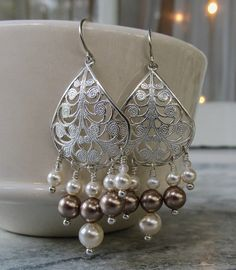 Silver chandelier earrings Elegant pearl earrings by HollyODesigns