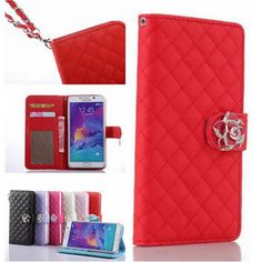 New bling Samsung Galaxy Note 5 Fashion Camellia PU leather Stand Flip cover case for Samsung Galaxy Note 3/4/5 A3A5A7 J7 S6/S6 Edge Plus Wallet Cases
