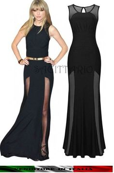 1d2c2649daae Abito da sera lungo Maxi vestito velato cerimonia elegante SEXY nero  capodanno Sexy Dresses