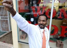 Rodney King gestures to supporters at an event in Los Angeles on April King, whose videotaped beating by Los Angeles police in 1991 sparked the LA riots, was found dead Sunday, June He was Rodney King, African American News, Civil Rights Movement, Black Is Beautiful, Black History, The Help, Death, Hollywood