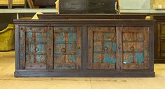 4 door server / sideboard with turquoise patina finish form The Green Door Company Oxford, MS Tv Center, Chipped Paint, Patina Finish, Paint Chips, Tv Stands, Painting Techniques, Sideboard, Ms, Oxford