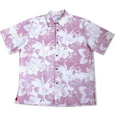 Orchid Shadow Red Hawaiian Reverse Shirt  #madeinhawaii #hawaiian
