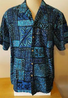 Styled by RJC Men's Hawaiian Tropical Shirt Short Sleve Blue Size XL 1X EUC  | eBay