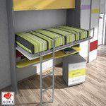 cama alta abatible con mesa estudio