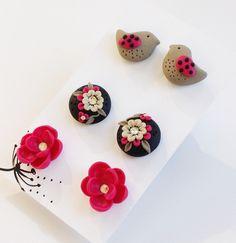 Pink Post Earrings Set, Little Birdie Earrings, Pink Flower Earrings, Pink and Black Earrings, Polymer Clay Earrings, Gift Set, Spring. $15.00, via Etsy.