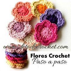 tutorial de flores fáciles para tejer al crochet Más