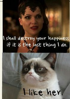 Grumpy Cat likes the Evil Queen! Grumpy cat is an evil regal. Grumpy Cat Quotes, Funny Grumpy Cat Memes, Funny Animal Jokes, Cat Jokes, Cute Funny Animals, Funny Animal Pictures, Animal Memes, Funny Cute, Animal Quotes