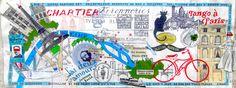 J'ai deux amours : Paris et Paris illustrated by Gail Gosschalk    #paris #parismonamour #collage #lettering #map #handdrawnmap #handlettering #vintage #retro #toureiffel #bicycle #font