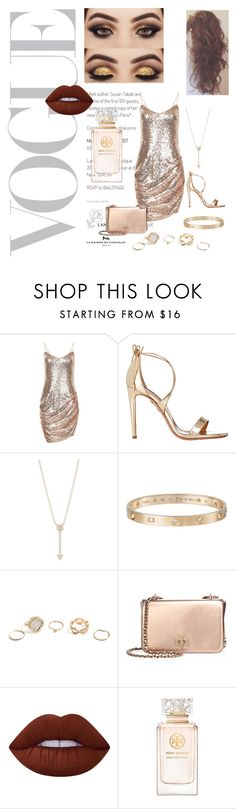 """Glamorous Goddess xo"" by that6irl ❤ liked on Polyvore featuring Aquazzura, EF Collection, Cartier, GUESS, Tory Burch and Lime Crime"