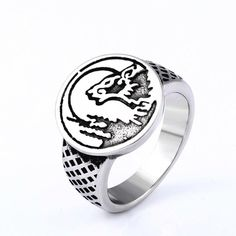 drop ship unique Animal Wolf ring stainless steel personality vintage awasome Punk Rock Viking jewelry for man - Men's style Coin Pendant Necklace, Shell Pendant, Stud Earrings, Fashion Bracelets, Fashion Jewelry, Women Jewelry, Jewelry Rings, Fine Jewelry, Unique Jewelry