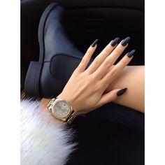 Navy blue matte nails. Watch