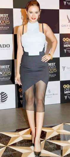 Evelyn Sharma at the GQ Best Dressed Men 2015 - #GQBestDressed. #Bollywood #Fashion #Style #Beauty #Sexy #Hot