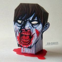 Tektonten Papercraft - Free Papercraft, Paper Models and Paper Toys: Severed Zombie Head Paper Toy