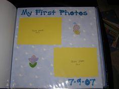 Baby scrapbook layout - first photos