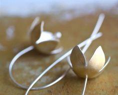 golden bellflower earrings by kathiroussel on Etsy