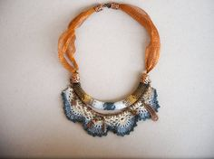 Boho gypsy necklace, multi strand lace necklace with hand crocheted lace and beaded  part, decorated with copper charms. Israeli jewelry.