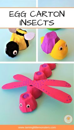 Egg Carton Insect Crafts for Kids - Taming Little Monsters - Use those old egg cartons to make these adorable insects. Your kids will love these craft activitie - Insect Activities, Preschool Crafts, Toddler Activities, Preschool Activities, Preschool Classroom, Fun Crafts, Egg Carton Caterpillar, Insect Crafts, Recycled Crafts Kids