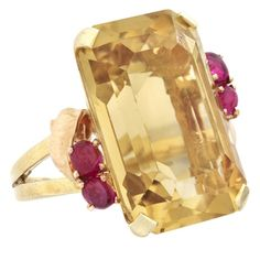 1stdibs.com | Retro Citrine and Cabochon Ruby Cocktail Ring
