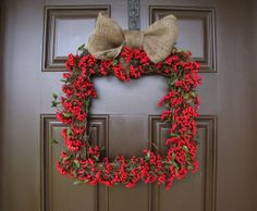 Christmas Present Red Cranberry Wreath Winter by TheWrightWreath, $70.00