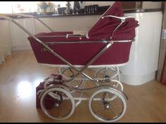 Pram Stroller, Baby Strollers, Plum Purple, Burgundy, Vintage Pram, Prams And Pushchairs, Dolls Prams, Baby Carriage, My Favorite Color