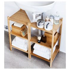 IKEA Organizer If you have a pedestal sink or wall-mount sink and no cabinets, there is still hope for you! These amazing ad easy to install shelves from IKEA are designed to fit around a pedestal sink or the pipe of a wall-mounted sink. Toilet Storage, Small Bathroom Storage, Bathroom Organisation, Organization Ideas, Under Pedestal Sink Storage, Organizing Tips, Ikea Under Sink Storage, Bathroom Ideas, Modern Bathroom