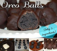 OREO BALLS 1 x Packet Oreos (bought a pack for 99c!) 1 x Block Philadelphia Cream Cheese 1 x Packet or Block Melting Chocolate (I used Cadbury Melts) Crush the oreos up, add the softened cream cheese & mix together. Roll into balls, cover the balls in melted chocolate & pop in the fridge until the chocolate hardens. Done! Not exactly healthy but EASY & YUMMY!!