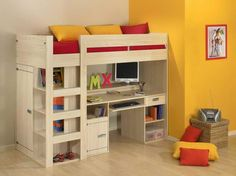 How to Build a Loft Bed with Desk Underneath with yellow wall