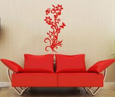 Abstract Flowers Floral Patterns Wall Vinyl Decals Sticker Home Interior Decor for Any Room Housewares Mural Design Graphic Bedroom Wall Decal (5510)