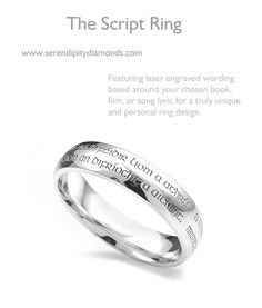 Engraved Script Ring Features Gaelic styled font engraved around