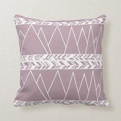 Mountains and Tribal Motif White on Mauve Throw Pillow | Zazzle.com Purple Throw Pillows, Shades Of Purple, Custom Pillows, Home Decor Inspiration, Mauve, Art Pieces, Make It Yourself, Mountains, Boho Chic